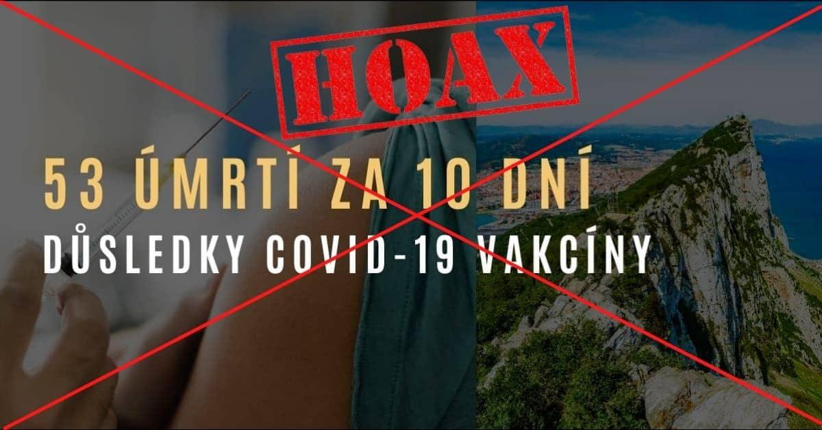HOAX: 53 mrtvých na Gibraltaru za 10 dní po očkování na COVID-19